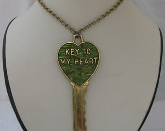 """Kitschy and GIGANTIC (Over 4"""") """"Key to My Heart"""" Pendant Necklace, Signed Signa Craft, Green on Gold Metal, 19.5"""" Loop Chain, Retro 1970's"""