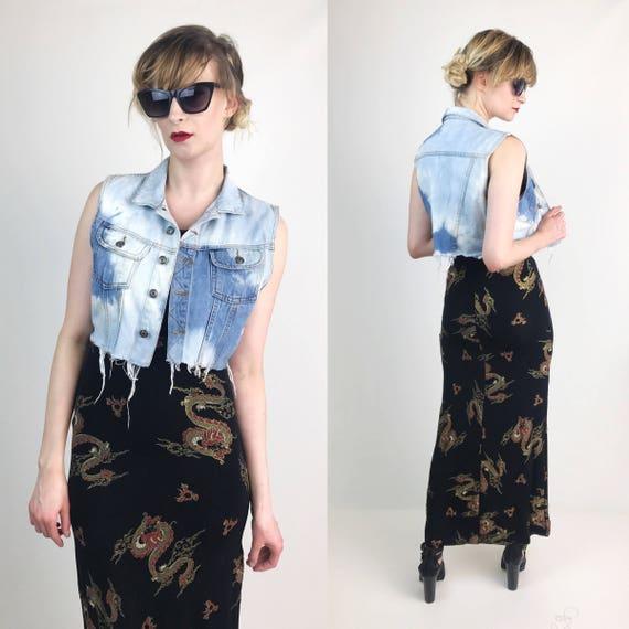 90's Frayed Bleached Denim Vest Women Medium - Tie Dye Bleach White & Blue Cropped Denim Vest - Distressed Grunge Womens Fashion Vest Jacket