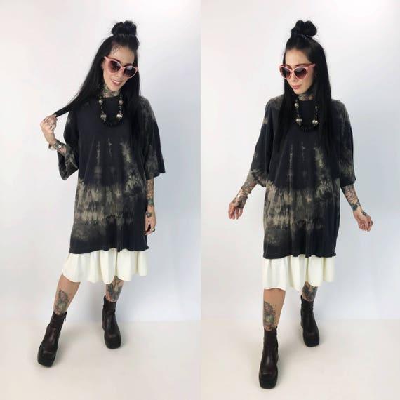 Black Tie Dye Bleached Long Baggy Tee 4XL Unisex - Grunge Goth Plus Size Streetwear Crew Neck T-Shirt Dress Rustic Baggy Tunic T-shirt Dress
