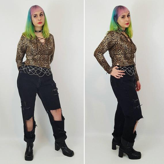 TOMMY Size 12 High Waist Black 90's Mom Jeans - Large Distressed Denim - Highwaisted Shredded Holey Ripped Knee Grunge Jean Raw Step Hem