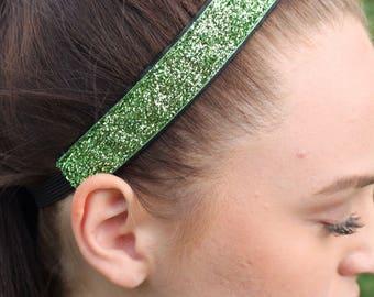 Green Glitter Headband Adult - Girls Headbands - Headbands for Women - Sports Headbands for Girls - Sparkly Headband - Girl Head Bands
