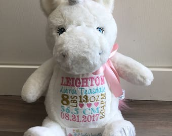 White Unicorn embroidered stuffie