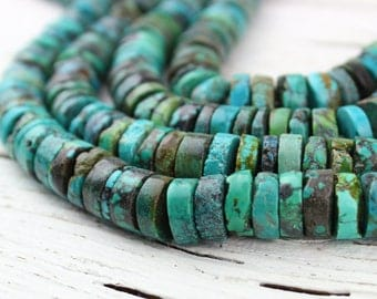 """Natural Turquoise Large Heishi Tyre Disc Wheel Rondelle Beads, Genuine Turquoise, Boho Hippie, H31, 12mm, 16"""" Strand"""