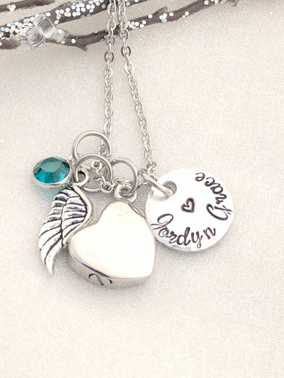 Cremation Urn Jewelry - Urn Necklace - Urn Jewelry - Hand Stamped - In Memory Of - Memorial Keepsake - Keepsake Jewelry - Ashes Necklace