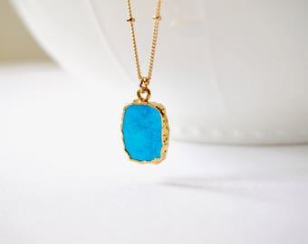 Gold Turquoise Beaded Necklace, Turquoise Necklace, Turquoise Jewelry, Bohemian Necklace, Modern Layering Necklace, Boho Chic, Stone Jewelry