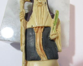 Carved Resin Vintage Netsuke Oriental Asian Man with Staff Longevity