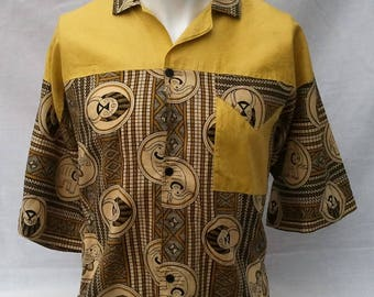 80s/90s Jazzy Pattern Shirt Tiki African Tribal Print Fresh Prince Vintage silk style Rockabilly 50s Two Tone Sale Reduced! Was 10 now 8!