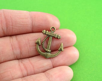 5 Bronze Anchor Charms (CH087-5)