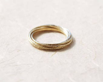 Unique Wedding Ring Mixed Metals Silver And Gold Rolling Interlocked