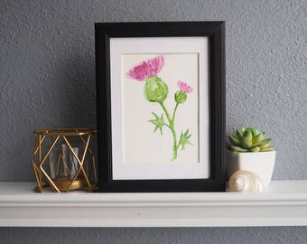Watercolor Art print - Thistle painting - Wall art thistle - Housewarming gift - Botanical art - Home decor - Scotland - Birthday gift