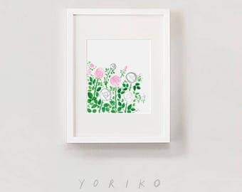 "Pink and White Rose bush print | 8"" x 10"" image area on 8.5""x 11"" paper 