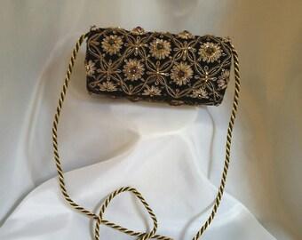 Shop closing Vintage jeweled evening bag black velvet evening bag Gold embroidered evening bag shoulder strap evening bag