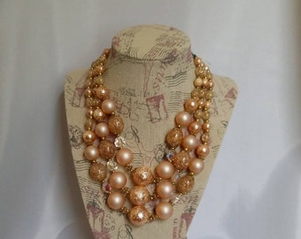 60s three strand necklace 60s bead necklace bold blush bead necklace vintage necklace womens jewelry