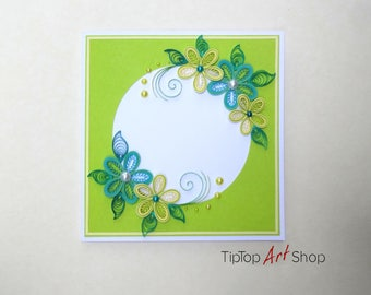 Homemade Quilled Flower Card in Bright Green, Yellow and Blue; Birthday Card for Mom