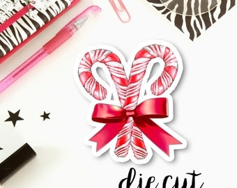 Christmas Candy Canes Cardstock Die Cut   Single Cardstock Die Cut for Planners, Journals, Scrapbooking, TNs