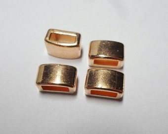 2 Small Rose Gold Bar Sliders, 5mm Flat Leather Cord Bracelet, Jewelry Making Supplies, Finding, Craft supply, bead, slider,