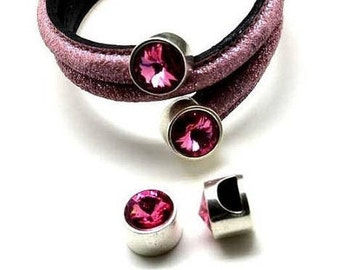Cord End Set: Rose Swarovski Half Round Cord Ends, Leather Cord Clasp, Silver plated Zamak,