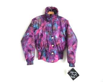 Rad Vintage 90s Ski Jacket Multi-color Purple Print Women's Size 10