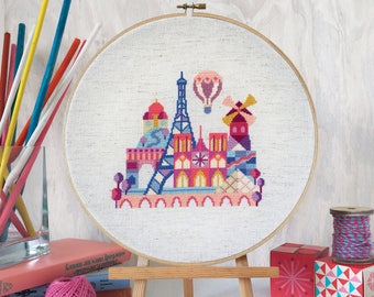Pretty Little Paris - printed version - Satsuma Street Modern Cross stitch pattern