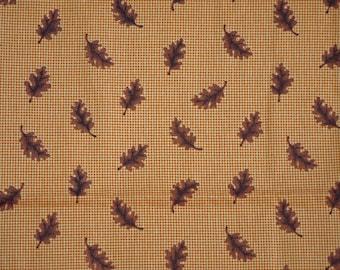 1/2 YARD, Orange Brown Acorn Leaves Autumn Print, Quilting Cotton or Craft Fabric, VIP Cranston, DreamSpinners, Fall Leaf Design, B25