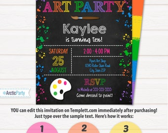 Art Party Invitation - Art Invitation - Art Birthday Party - Painting Party - Pink - INSTANT ACCESS - Edit with Templett.com in your browser