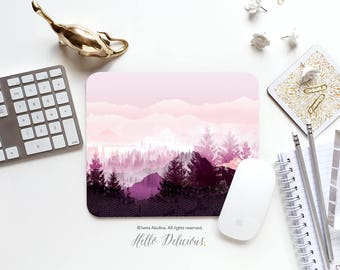 Mousepad Mountains Mousepad Purple Forest Mouse Mat Christmas Mouse Pad Office Mousemat Rectangular Mousemat Forest Mousepad Round 106.