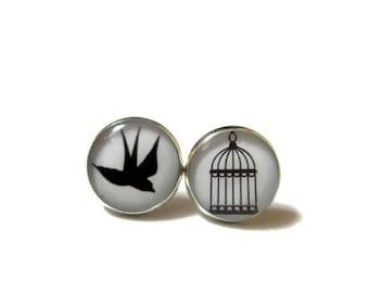 GRADUATION EARRINGS - Be Free Bird Earrings - Cage stud earrings - Bird Post Earrings - Divorce Gift