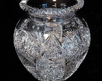 LARGE Cut Crystal Glass Vase / Wedding Table Reception / Elegant Home Decor / Interior Decorator / Housewarming