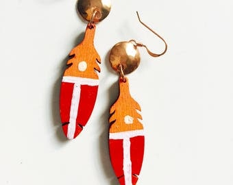 Handpainted Wood Feather Earrings Tsalagi Cherokee Made