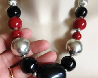 Necklace -  black silver and red  large  plastic beaded necklace very large feature bead