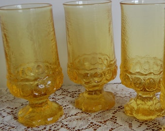 Vintage 3 Franciscan Water Goblets, yellow goblet, cornsilk yellow goblet, retro water goblet, water glass, yellow glass