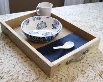 Wood Serving Tray, ottoman tray, serving platter, wood desk tray, wooden serving tray with handles, primitive wood tray, farmhouse decor