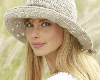 Women's Sun Hat, Handmade Crochet Hat, Women's Summer Hat, Floppy Brim Hat, Cotton FIber Hat, Summer Hat, Women's Natural Hat, Made to Order
