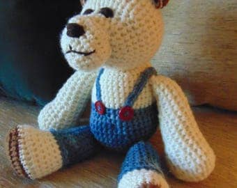 "Crocheted teddy bear stuffed animal doll toy ""Jeremy"""