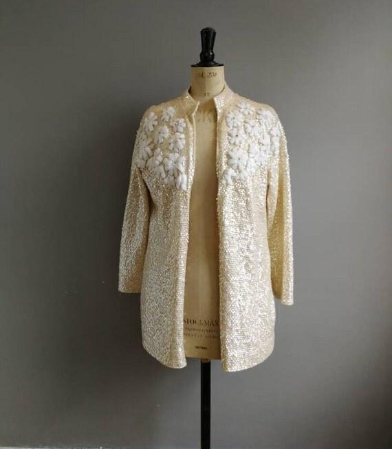 white sequin cardigan / vintage lined cardigan beads and sequins / 60s sequin cardigan / vintage embellished cardigan