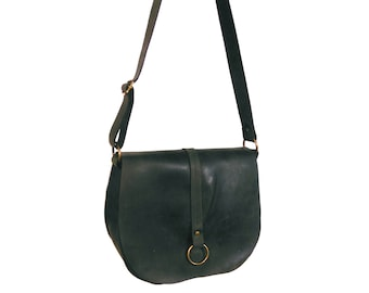 Black aged leather crossbody bag