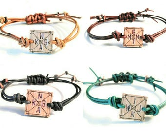 LOVE.MY.TRIBE™ custom bracelet >set of 4< leather + wood