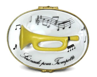 Limoges Porcelain Trinket Box With Miniature Trumpet and Music Notes.