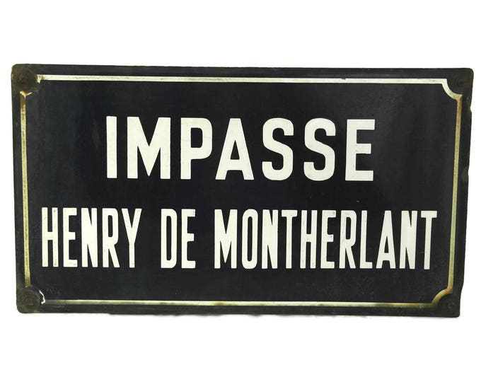 French Vintage Street Sign. Enamel Road Sign. Blue Metal Street Sign. Henry de Montherlant.
