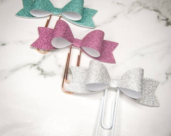 Glitter Cardstock Bow Paper Clip / Paperclip - Perfect for decorating your planner!! Non-shedding glitter!! Available in 3 colours!