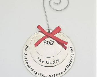 Personalized Family Christmas Ornaments - Silver - custom ornaments - 3 disc