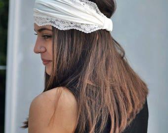 Ivory Bandana Headband, Elastic Headband, Fitness Headband, Vintage, Turban Headband, Elastic Jersey Headband, Lace Headband, Ivory Headband