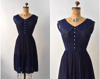 1950's R&K originals navy blue sheer dress •  medium