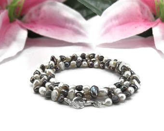 Freshwater Pearl Wrap Bracelet - Black and White Pearl Wrap Bracelet - Pearl Jewelry - Beaded Wrap Bracelet - Boho Bracelet - Pearl Necklace