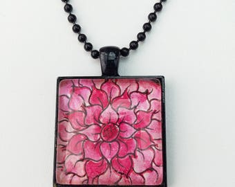 Hand painted jewelry - Miniature Painting - Wearable Art - Christmas Gifts - Flower Art - Hand-painted Necklace - OOAK - Flower Jewelry