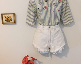 OversizedAlice in Wonderland Teacup Button Down Polo Shirt Size Small/Medium/Large
