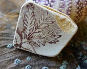 Brown Pottery Shard with Foliage / Scottish Sea Pottery / Vintage Pottery