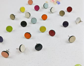 Neon post earrings, round studs, leather jewelry, geometric jewelry, everyday earrings, minimal earrings, Gift from daughter, jewelry gift