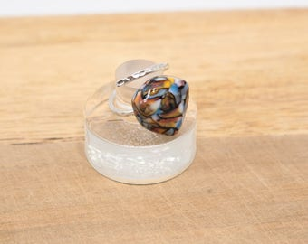 Southwest Mosaic Patterned Glass Lampwork Cabochon, Adjustable Sterling Silver Ring