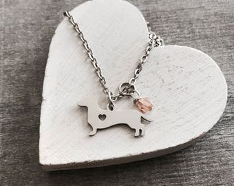 Dachshund, Sausage Dog, I love my, Puppy, Dachshund Mom, Silver Necklace, Charm necklace, Dachshund Gifts, Dog, Silver Jewelry, teenager